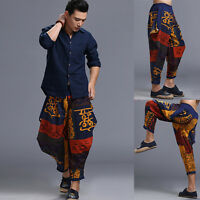 Fashion Loose Cotton Linen Mens Harem Baggy Pants Casual Dance Boho Trousers UK