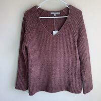 Vince Ladder Stitch Cashmere Blend V-neck Chunk Knit Oversized Sweater XS NWT
