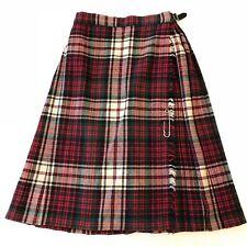 """Laird Portch Scotland Wool Midi Kilt Skirt Pleated Fringe Buckle Waist 24"""""""
