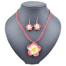 Lady's Summer Beach Hawaiian Red Frangipani Flower Necklace Earrings Jewelry Set