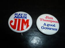 Jim Thompson Illinois Governor Campaign Pin Back 2 Local Buttons Political