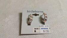 Liz Claiborne ST Violet Pink Plastic Clear Crystal Hoop Wire Pierced Earrings