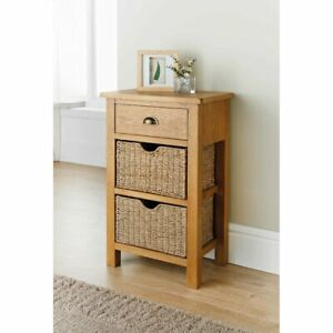 Wiltshire Oak Small Console Table Two Basket Vintage Hall Fully Assembled-DAM BO