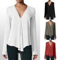 Women Chiffon Long Sleeve Deep V Neck Soft Blouse Top Work Regular Plus Size
