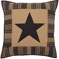BLACK CHECK STAR QUILTED EURO SHAM Khaki Primitive Rustic Country VHC Brands