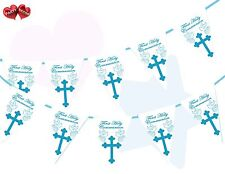 1st First Holy Communion Cross & Doves Themed Blue Boy Bunting Banner 15 flags
