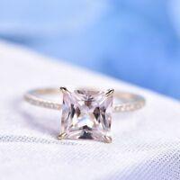 2Ct Princess Cut Morganite Halo Engagement Ring Solid 14K Yellow Gold Finish