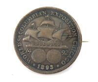 1893 COLUMBIAN COLUMBIA EXPO, CHICAGO SILVER HALF DOLLAR BROOCH.