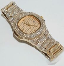 MEN'S OVAL LARGE GOLD PLATED BEZEL ICED OUT SOLID HIP HOP BLING WATCHES