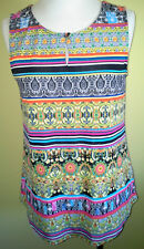 Ladies Womens Sleeveless Blouse Tank Top Shirt Stretch Print Rockmans Size S 10