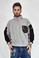 NAPAPIJIRI Vintage Sweatshirt With Zip Felpa Grigia In Pile Fleece TG L Uomo Man