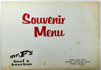 1978 Original Menu MR. F's Beef & Bourbon Restaurant Warren Michigan