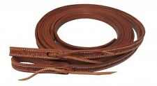 """Showman 8' x 5/8"""" Argentina Cow Leather Barb Wire Tooled Split Reins! NEW TACK!!"""