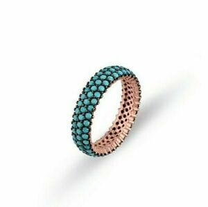 AAA QUALITY STERLING 925 SILVER LADIES JEWELRY TOP BLUE TURQUOISE BAND RING