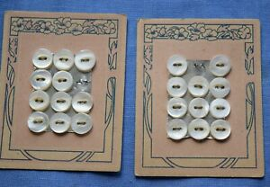 0056  2 Antique mother of pearl shell button card, floral graphic