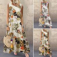 UK Women Bohemia Floral Swing Long Maxi Dress Summer Beach Holiday Party Dresses