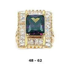 Dolly-Bijoux Grosse Bague Améthyste T52 à T62 Pavé de Diamant Cz Plaqué Or 18K