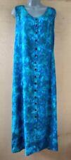 Batik Bali Indonesia Blue Fern Leaf  Sleeveless Long Dress Hippie Boho  NWT -L