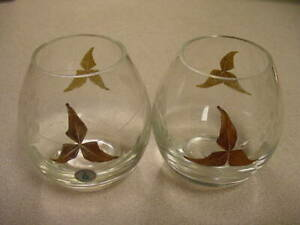 2 Partylite Tuscany Retired Tea Light Holders P7138 Handpainted Gold Leaf MINT
