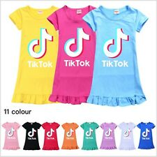 Kids Girls Tik Tok Nightdress Short Sleeve Nightie Skirt Sleepwear Nightwear Top