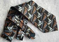100% SILK TIE - Louis Founttain NeckTie - Blue Black & Brown Triangles - Italy