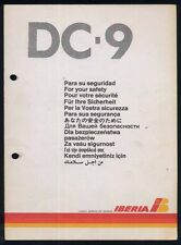 IBERIA spanish airline DC9 SAFETY CARD airline brochure ee e171
