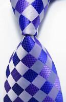 New Classic Checks Purple Blue JACQUARD WOVEN 100% Silk Men's Tie Necktie