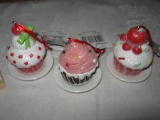 """NWT Lot 3 Kurt Adler 3"""" Cupcake Ceramic Ornament Gingerbread Set & Cupcake Stamp"""