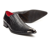 6e4a6483c453 Men's Italian Shoes Black Crocodile style Leather Lined Metal Pointed  Rock(Benit