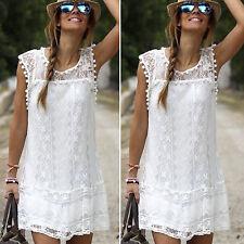 Womens Beach Short Mini Dress Loose Blouse Summer Holiday Casual Party Boho Tops