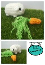 Handmade Collectable White Crochet Cavy Pet Guinea Pig Gift with Carrot Snack