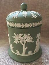 Stunning vintage Wedgwood sage green Jasperware dome lidded pot