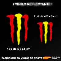 2X VINILO PEGATINA BANDERA ESPAÑA MONSTER REFLECTANTE COCHES MOTOS CASCO