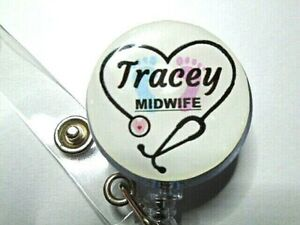 PERSONALISED Name Retractable ID Card Badge Reel Pass Holder Stethoscope Midwife