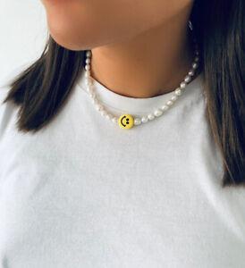 Smiley face smile emoji freshwater pearls beaded necklace choker UK