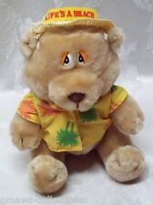 "Vintage RUSS Bear Straw Hat ' LIFE'S A BEACH ' 10"" Plush K-59 Korea EUC Hawaiian"