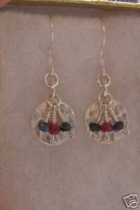 Sterling Silver Disc with Sapphire and Ruby Earrings