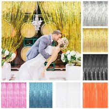 8ft Gold Foil Fringe Door Curtain Photo Booth Tinsel Birthday Party Decorations