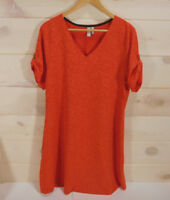 Sahalie Dress Women's Plus Size 1X Orange Short Sleeved Tapestry Tabbed Sleeves