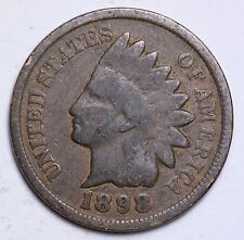 1898 INDIAN HEAD CENT PENNY / CIRCULATED GRADE GOOD / VERY GOOD 95% COPPER COIN