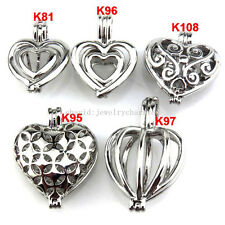 21624 5X/lot Wholesale Silver Locket Love Sweet Heart Pearl Cage Pendant Girls