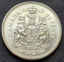 1960 Canada Silver 50 Cent Half Dollar Coin - 80% Silver - Great Condition
