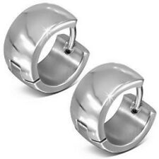 SILVER HUGGIE HOOP HINGED EARRINGS SURGICAL STEEL MENS WOMENS 1 PAIR