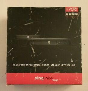 SLING MEDIA SlingLink Turbo 4 Port HomePlug Network Hub SL-200-100 NEW