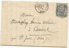 FRANCE cover lettre BRETEUIL SUR NOYE  (oise) 1888 sage LAC BELLEMERE CORNIQUET