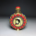 Handmade Collectible Pure Copper Inlaid with Gemstones Chairman Mao Snuff Bottle
