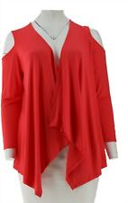 Joan Rivers Jersey Knit Draped Front Cardigan Cold Shoulder Poppy 3X NEW A306705
