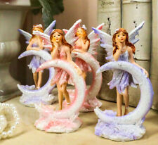 Ebros Set of 4 Colorful Pink and Purple Enchanted Crescent Moon Fairy Figurines