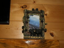 Photo frame pitcher frame Bears pine cone faux wood cabin decor lodge stand alon