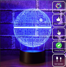 7 Color Changing Star Wars Death Star 3D LED Night Light USB Table Desk Lamp